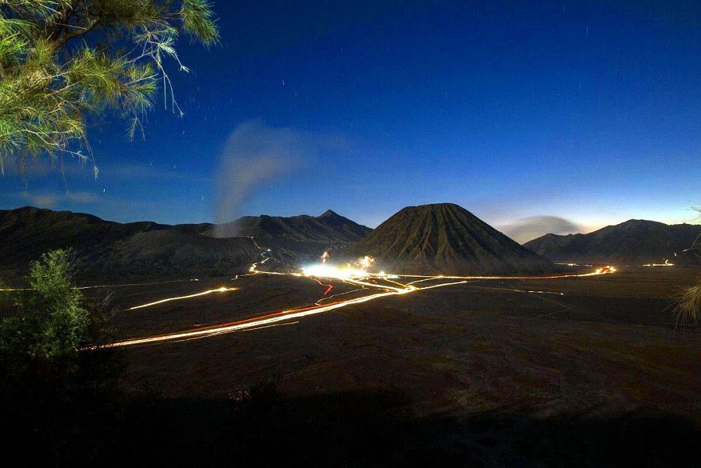 evening view of the valley of the volcano Bromo