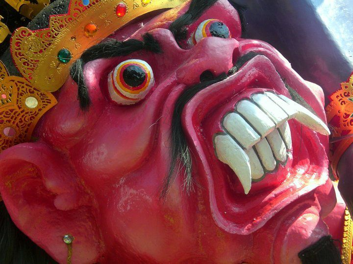close-up of the face of God at the festival Ogoh Ogoh