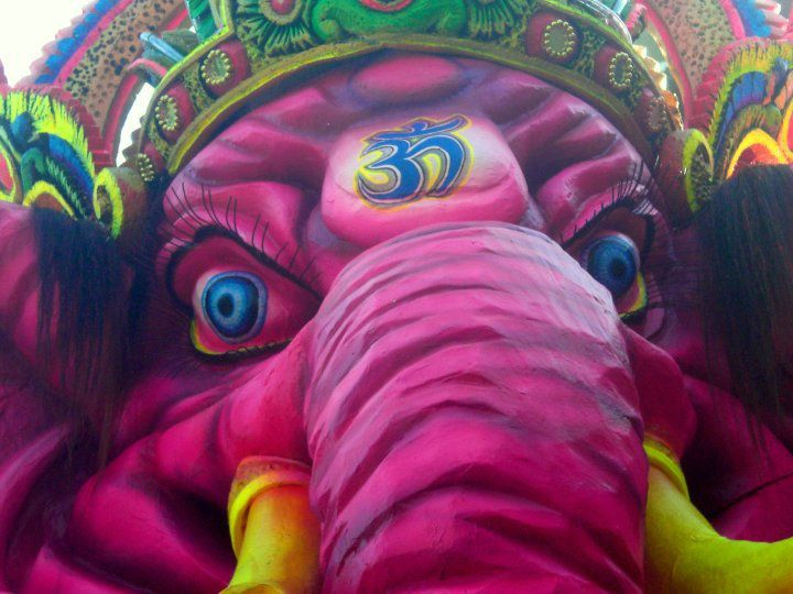 close-up of the face of Ganesha